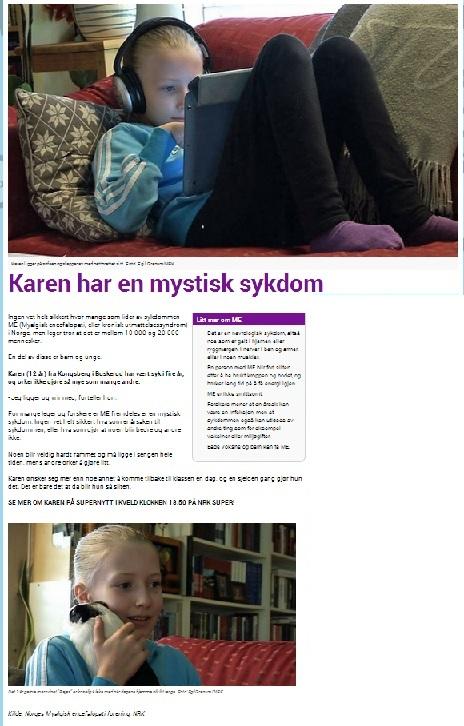 NRK Supers artikkel på ME-dagen